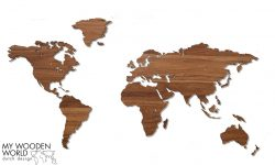 My Wooden world map, wereldkaart walnoten